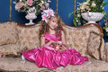 Girl in a bright pink dress Royalty Free Stock Photo