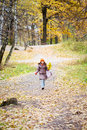 Girl in bright yellow autumn forest Royalty Free Stock Photography