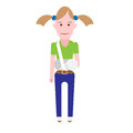 Girl with broken arm illustration of sick on white background Royalty Free Stock Photography
