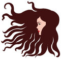 Girl with brown hair wavy curly Royalty Free Stock Photos