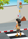 A girl with a brown shoes crossing the street illustration of Royalty Free Stock Photo