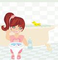 Girl brushing teeth illustration Stock Images