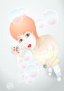 Girl with bubbles vector illustration if the ginger blowing soap Stock Photography