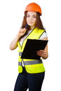 The girl the builder in a helmet with tablet for papers and handle white background it is isolated Royalty Free Stock Photos