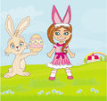 Girl in bunny costume and sweet easter bunny illustration Stock Images