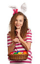 Girl with bunny ears Royalty Free Stock Photo
