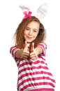 Girl with bunny ears Stock Photography