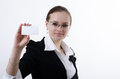 Girl with a business card woman showing Royalty Free Stock Images
