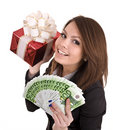 Girl in business suit  with money, red gift box. Royalty Free Stock Photo