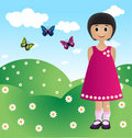 Girl with butterflies Stock Images