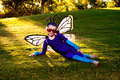 Girl In Butterfly Costume Royalty Free Stock Photo