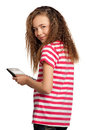 Girl with calculator Royalty Free Stock Photography