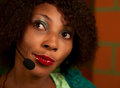 Girl in call center african american Stock Photos