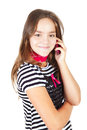 Girl calling by cell phone isolated over white Royalty Free Stock Images