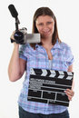 Girl with camcorder Royalty Free Stock Photo