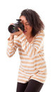 Girl with a camera Stock Image