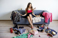 Girl can`t decide what to wear Royalty Free Stock Photo