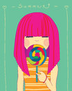 Girl and candy eating a big illustration Royalty Free Stock Photo