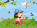 A girl with a cap catching butterflies illustration of in the garden Royalty Free Stock Images