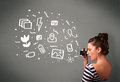 Girl capturing white photography icons young photographer and symbols Royalty Free Stock Images