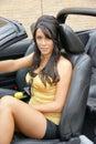 Girl in car Royalty Free Stock Photo