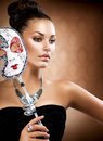 Girl with Carnival Mask Royalty Free Stock Photos