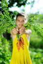 Girl with carrots Royalty Free Stock Photography