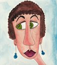 Girl cartoon character avatar artwork ink and watercolors on paper Royalty Free Stock Image