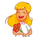 Girl cartoon characters with a bouquet of tulips