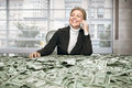 Girl with cash Royalty Free Stock Photo