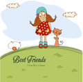 Girl and a cat are best friends illustration Stock Photos