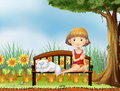 A girl with a cat in the garden illustration of Royalty Free Stock Photos