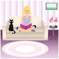 Girl and cat illustration of cute reading book that sits on sofa next to black in cozy living room Stock Photography