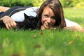 Girl with cat the lying the black Stock Photography