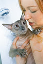 Girl and cat in shower shorthair oriental taking a Royalty Free Stock Photos