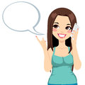 Girl cellphone conversation young having a using her smartphone with a speech bubble Royalty Free Stock Photos