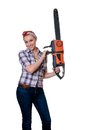 Girl with chain saw Royalty Free Stock Images