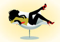 Girl on chair with wineglass vector illustration of a Royalty Free Stock Images