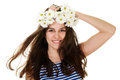 Girl in chamomile wreath and sailor Stock Photography