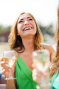 Girl with champagne glass summer holidays vacation and celebration Royalty Free Stock Photos