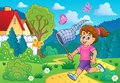 Girl chasing butterflies theme image 3 Royalty Free Stock Photo
