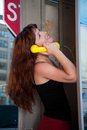 Girl chatting on the phone Royalty Free Stock Photos