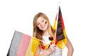 Girl cheers for the german soccer team Royalty Free Stock Photo
