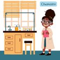 Girl in chemistry class. Furniture set for chemistry class. Vector illustration in cartoon