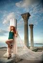 Girl on Chersonesos Royalty Free Stock Photo
