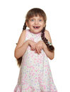 Girl child lost tooth fairy casual dressed on white Royalty Free Stock Photo