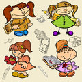 Girl child school cartoon sketch there are four girls Royalty Free Stock Image