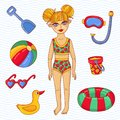 Girl child with sweeming beach toys vector set Royalty Free Stock Photo