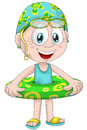Girl child swim ring character cartoon style illustration cute little wearing a swimsuit with rubber vector done in on a white Royalty Free Stock Photos