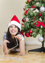 Girl and Christmas Stock Image
